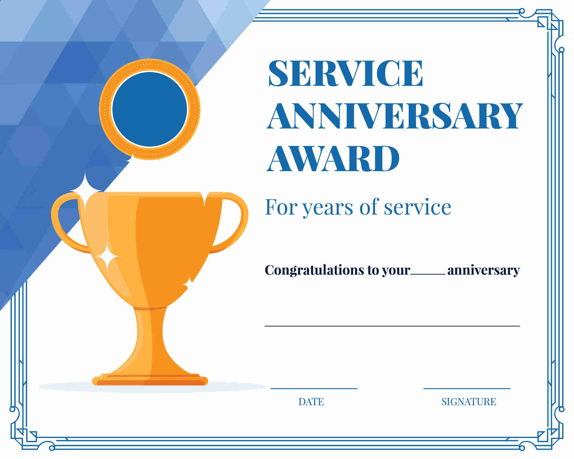 23 Amazing Award Certificate Templates - Recognize With Long Service Certificate Template Sample